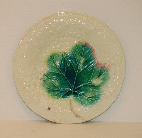 12: European Leaf Motif Majolica Plate