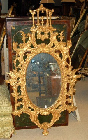 14: Gilt Chippendale Style Wall Mirror w/ Pagoda Crest