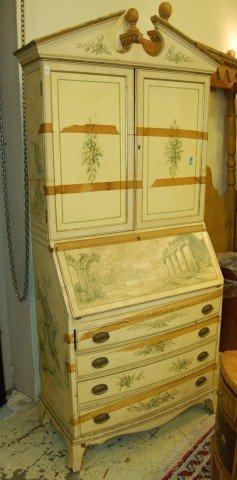 20: Slant Top Secretary Bookcase w/ painted finish