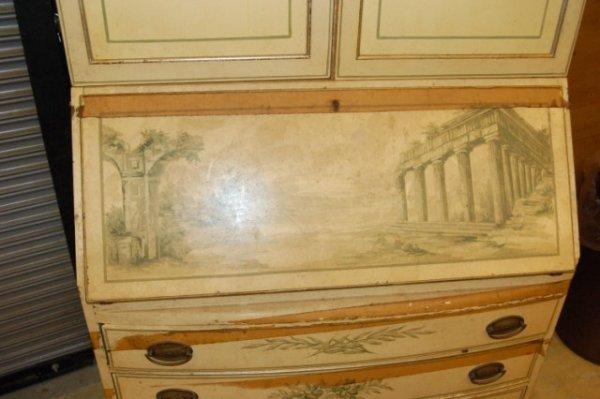 20: Slant Top Secretary Bookcase w/ painted finish - 2