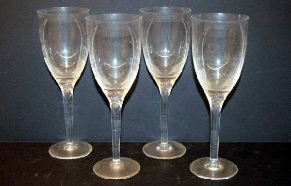 23: Four Signed Lalique Crystal Angel Goblets