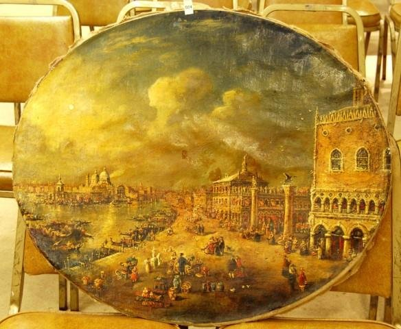 24: 19th Century Oval Unframed Oil on Canvas