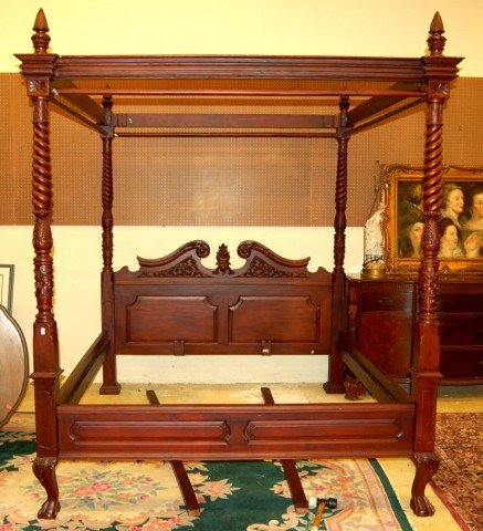 & 50: Mahogany King Size Four Poster Canopy Bed