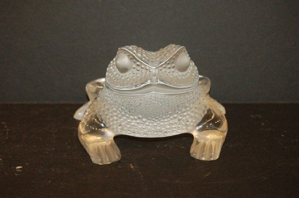 56: Lalique Crystal Frog Figure