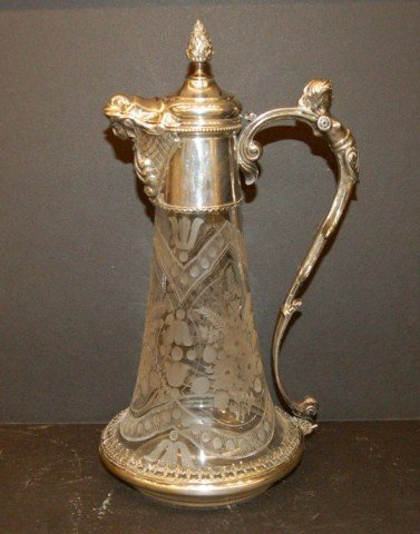 82: Engraved Crystal Decanter w/ silver mounts