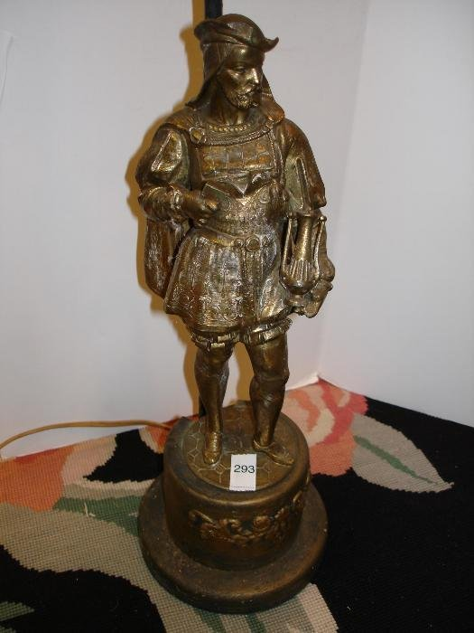 293: Classical Brass Figural Lamp - Man Holding Urn