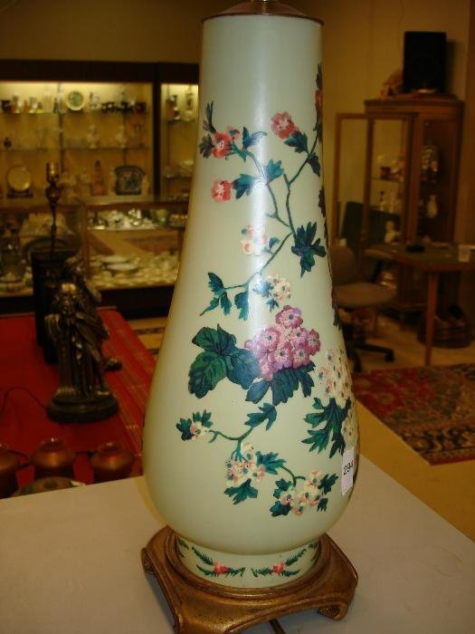294: Pair of Hand Decorated Porcelain Vase Lamps