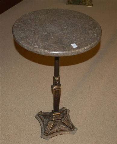 9: Round Art Deco Stand with Marble Top & Metal Base