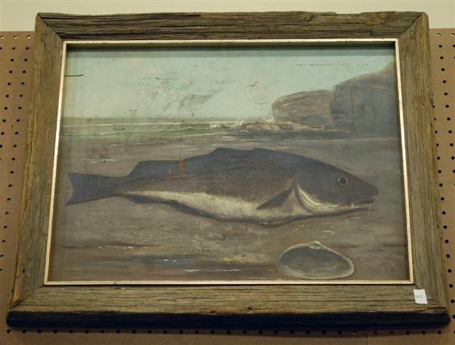 17: Folk Art Painting - Oil on Panel - Fish on Shore