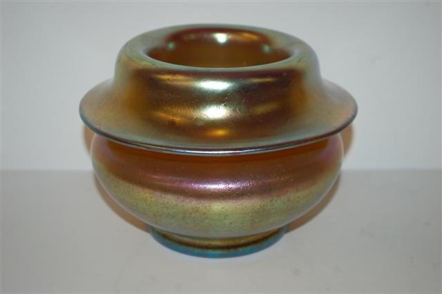 21: Unusual Gold Iridescent Art Glass Vase - signed