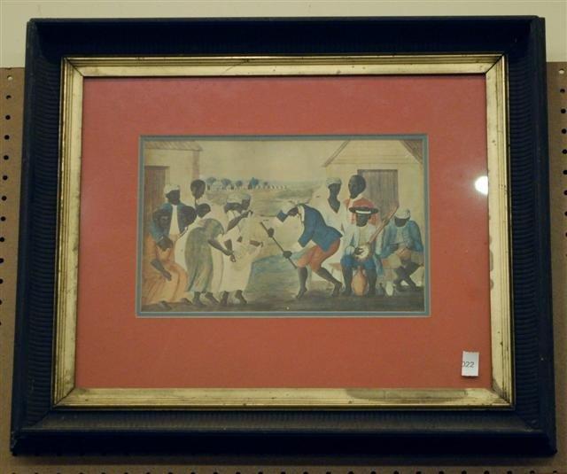 22: Framed Engraving - Plantation Scene - Stick Dancers