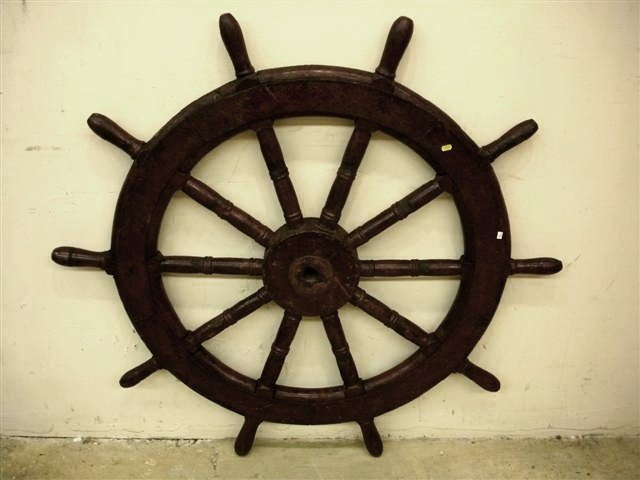 9: 19th Century English Wooden Ships Wheel