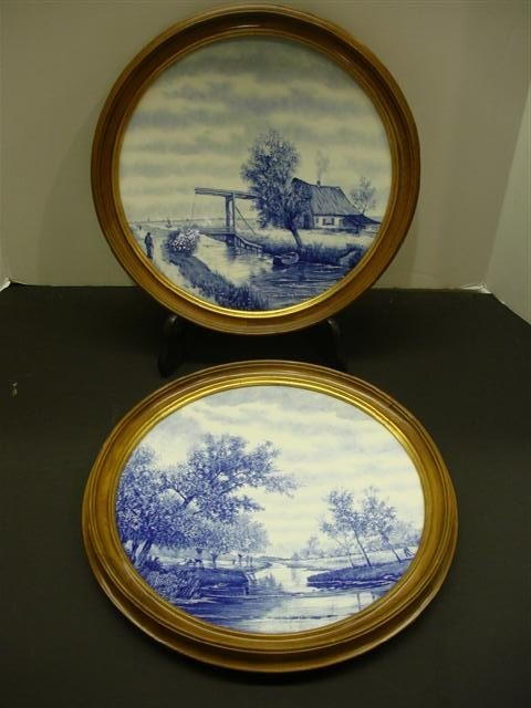 16: Pair of Delft Chargers - Landscape Scenes