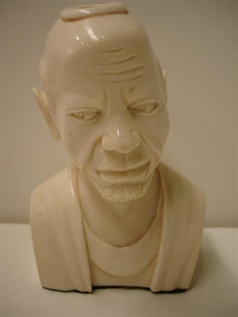 3: Carved Ivory Bust of Oriental Man - signed