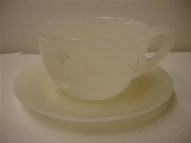 8: Carved White Jade Cup & Saucer