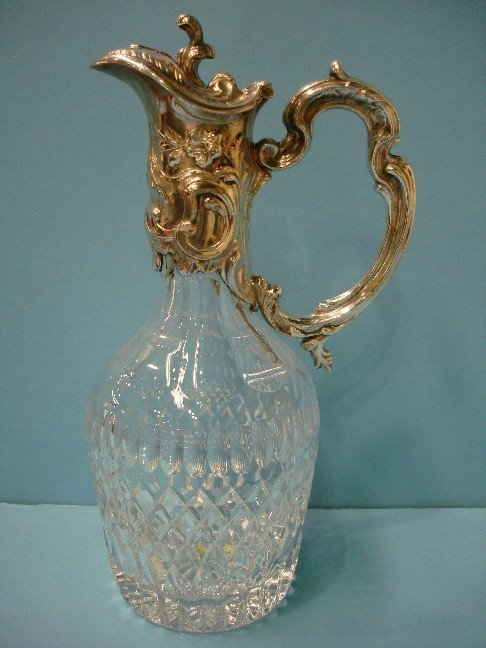 78: Crystal Decanter w/ embossed Silver lid & handle