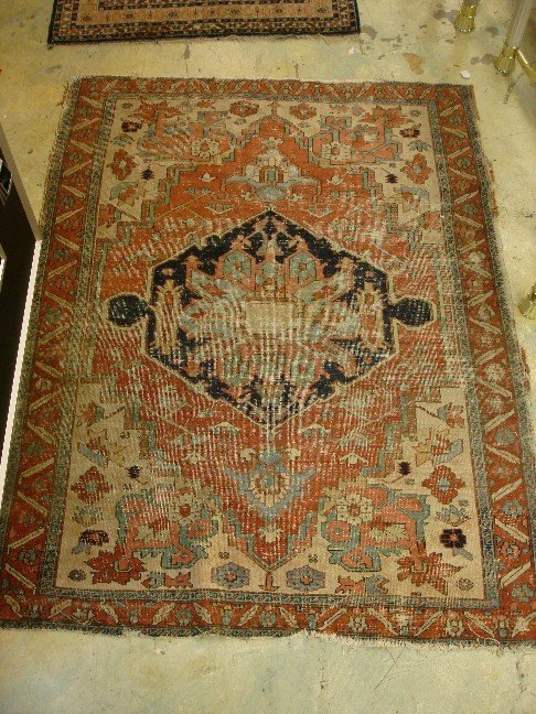 14: Antique Caucasion Rug - Worn