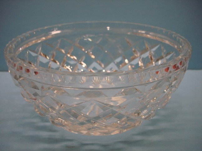 17: Round Cut Glass Bowl w/ star cut base