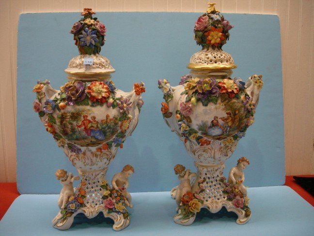 119: Pair of Hand Decorated Capo Di Style Monte Urns w/