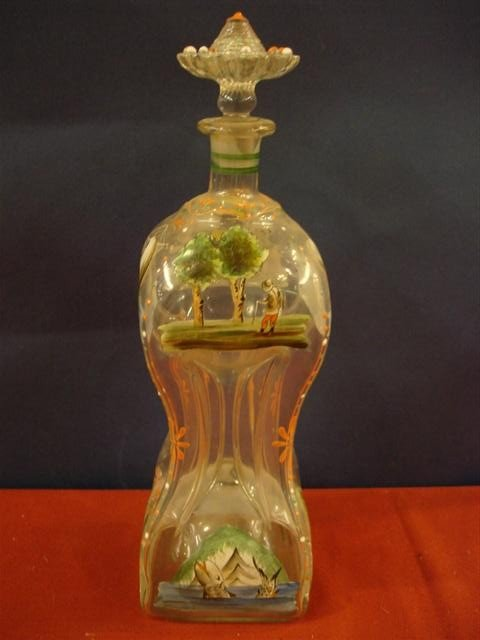 6: Glass Bottle w/ enameled decoration & pinched sides