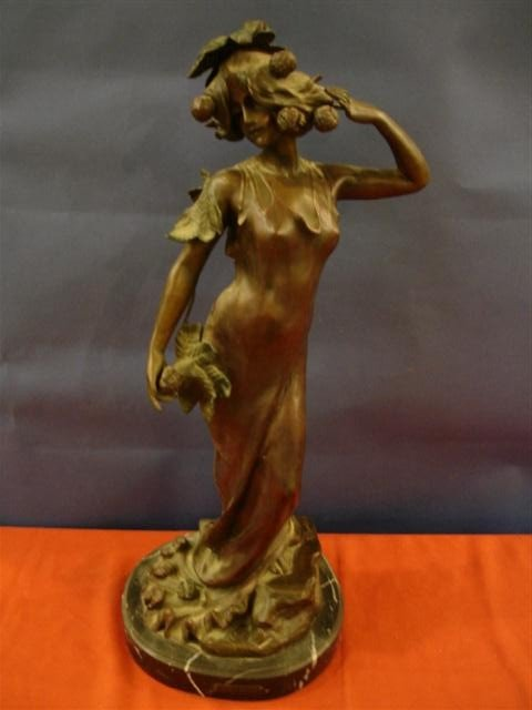 9: Art Nuveau Bronze Statue - Woman - signed V. Alliot