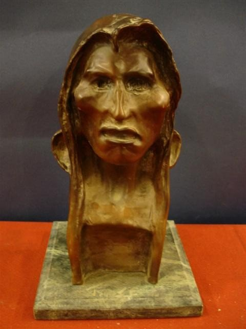 11: Remington Recast Bust of Indian on marble base