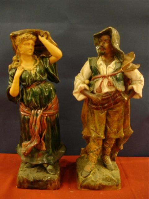 12: Pair of European Ceramic Statues - Man & Woman