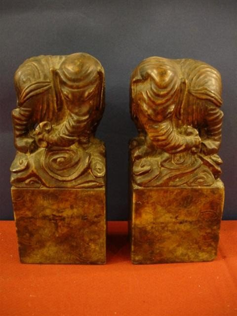 13: Pair of Carved Soapstone Elephant Figures