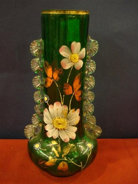 17: Green Glass Vase w/ floral decoration