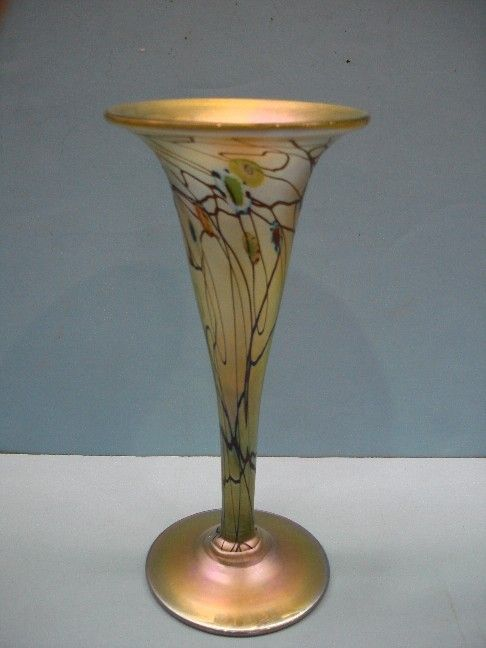 241: Iridescent Art Glass Trumpet Vase