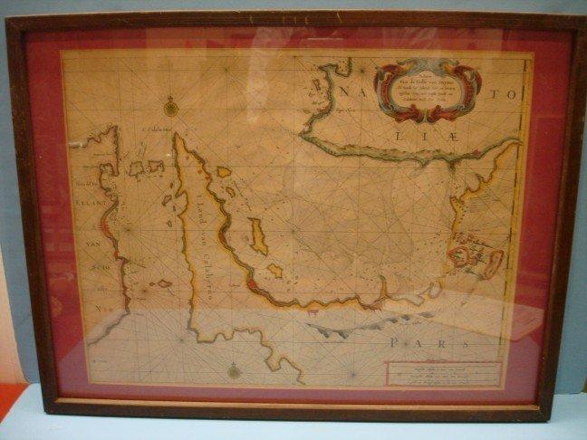 "300: Framed Map, ""Pasaskaarte Van de Golfe van Smyrne"""