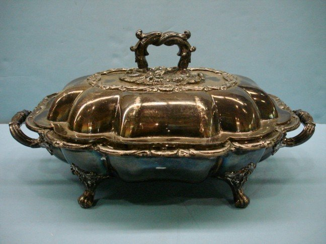 11: Silver on Copper Covered Serving Dish