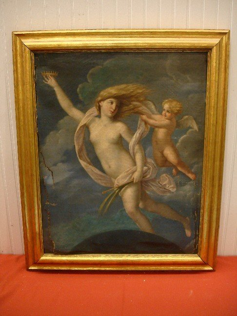 273: 19th Century Oil on Canvas - Woman w/ Angel - torn