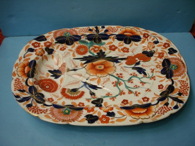 17: 19th Century English Ironstone Footed Meat Tray