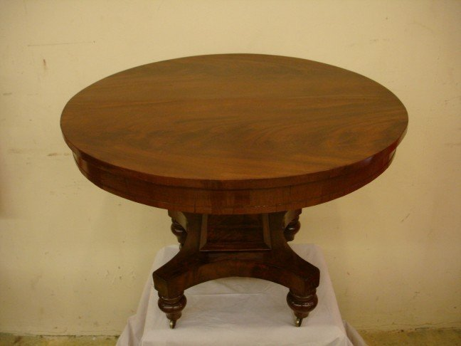 Round Mahogany Empire Coffee Table