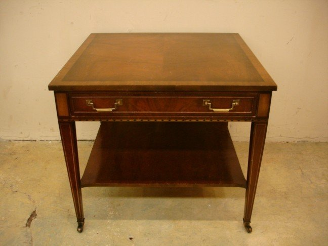 24: Inlaid Mahogany Lamp Table w/ banded top