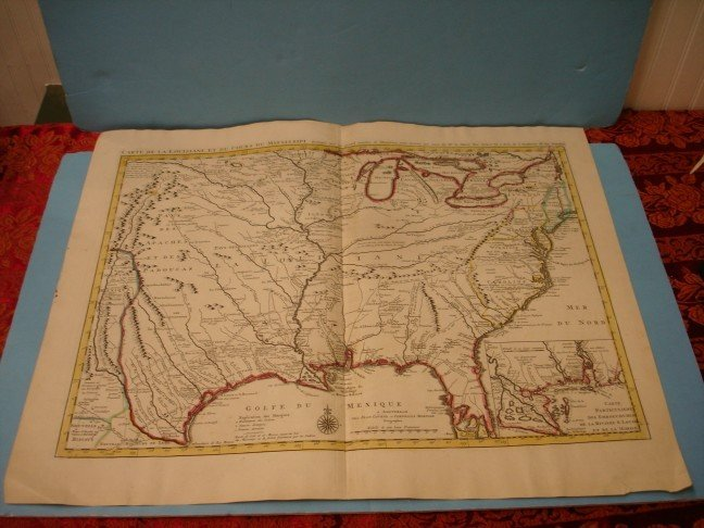 "137: Colored Map Engraving ""Carte de la Louisiane"""