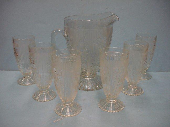 1: Iris & Herringbone Depression Glass Water Set