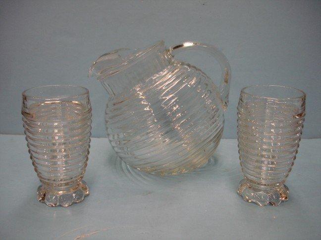 2: Manhattan Depression Glass Pitcher & Three Tumblers