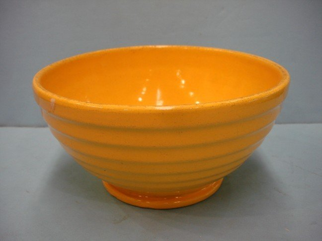 6: Yellow Glazed Pottery Mixing Bowl w/ ribbed sides