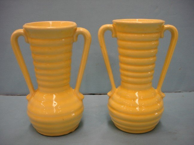 7: Two Small Yellow Glazed Urns w/ ribbed sides