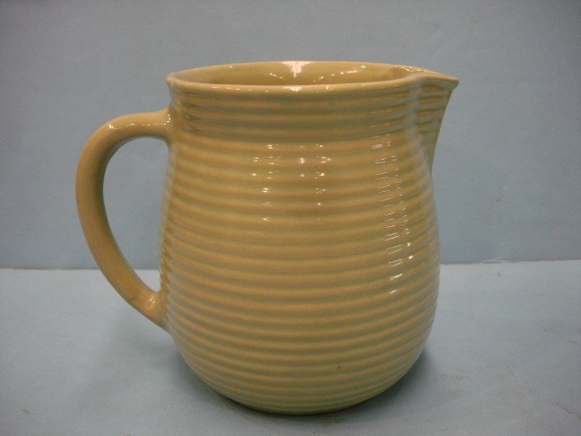 8: Green Glazed Pottery Pitcher w/ ribbed sides
