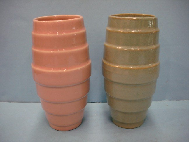 9: Two Pottery Vases - Green & Pink  w/ ribbed sides