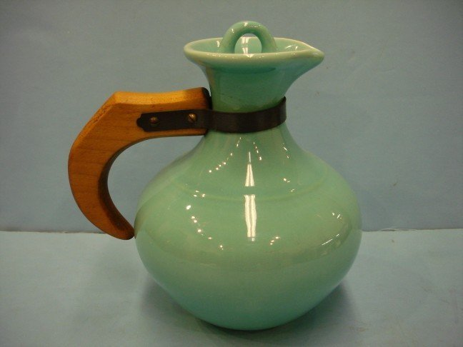 12: Franciscan Turquoise Glazed Pitcher w/ wood handle