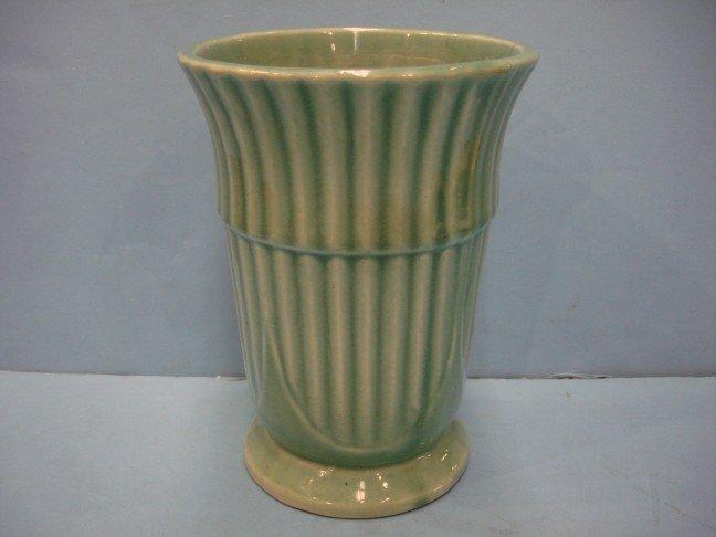 16: Blue Green Vertical Ribbed Vase