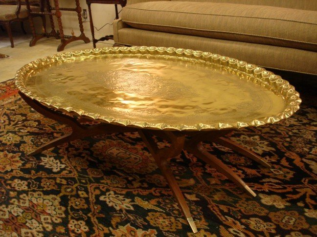 Middle Eastern Brass Tray Top Coffee Table