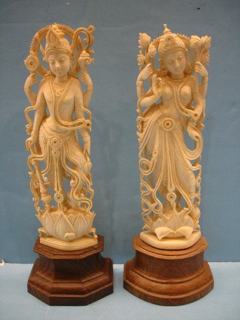 1: Pr. Middle Eastern Carved Ivory Statues