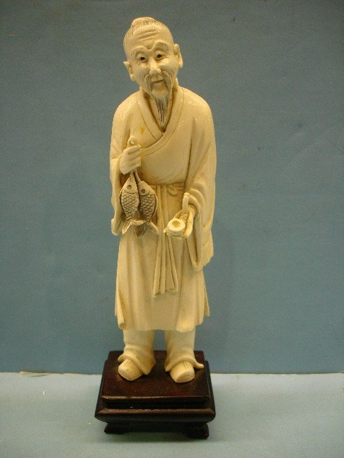 2: Carved Japanese Ivory Figure of Fisherman