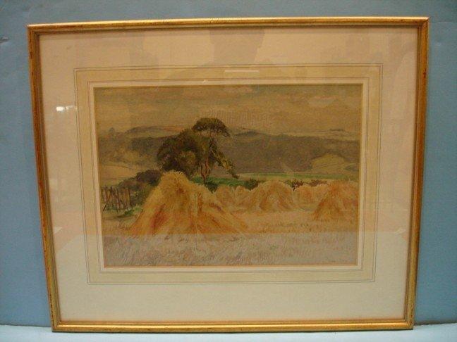 4: Miles Sharp English  Watercolor - Farm Scene