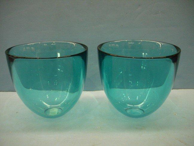7: Pair of Blue Orrefors Crystal Vases